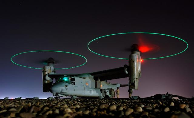 "Two huge rotors of ""Osprey"" are ready for take-off"